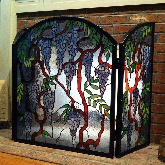 25 best images about Stained Glass Spark Fireplace Screens ...