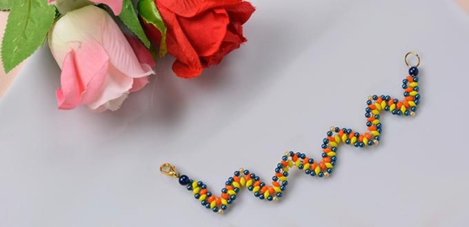 Pandahall Tutorial on How to Make a Colored 2-Hole Seed Bead Wave Bracelet