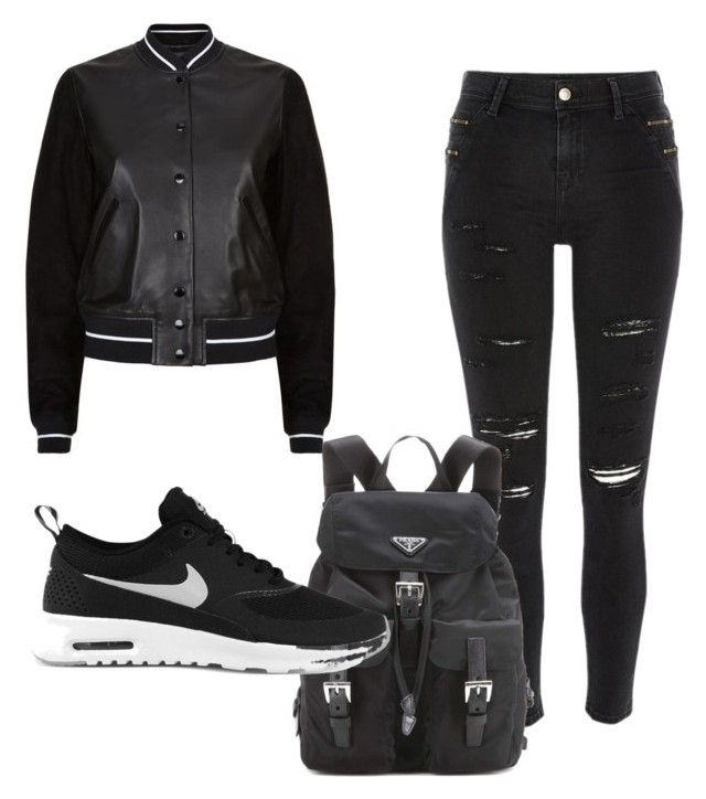 """Jordyn Jones Style"" by russia-vily ❤ liked on Polyvore featuring River Island, rag & bone, Prada and NIKE"