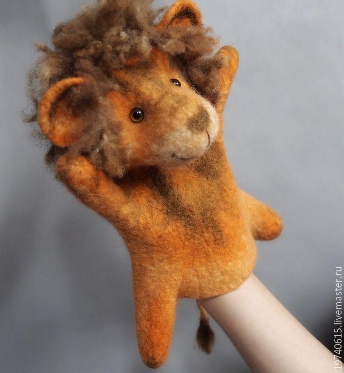 Купить Львенок. Перчаточная кукла Би-Ба-Бо. - оранжевый, лев, львенок, львы, львенок