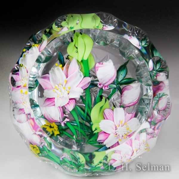 """Caithness Glass 2016 """"Pink Columbine"""" floral bouquet magnum faceted paperweight, by Allan Scott, from the Lampwork Collection. by Caithness  Glass Inc"""