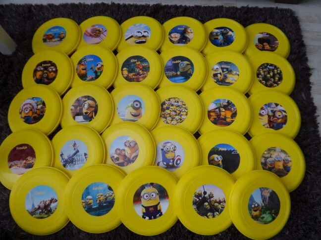 Minions frisbee met de Namen van de kinderen erop