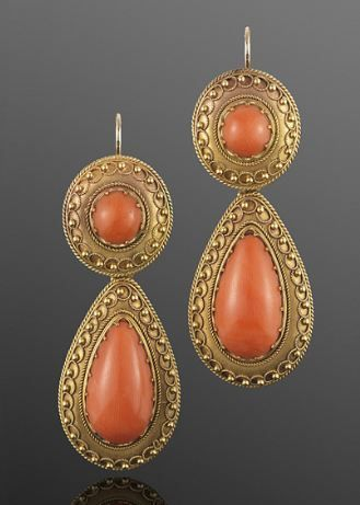Yellow Gold and Coral Etruscan Revival Pendant Earrings, English, Circa 1870