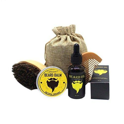 Men Beard Care Kit Mustache Grooming Trimming Set – Beard Brush + Beard Comb + Natural Beard Oil + Natural Beard Balm – Perfect Gift Kit