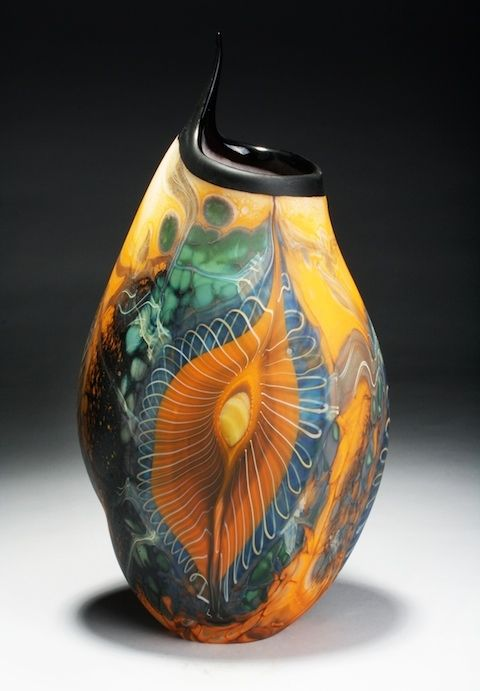 "William Ortman, ""Marine Sunrise Pulled Lip Vessel,"" blown glass, 16x8x5.5 in - Sherrie Gallerie"
