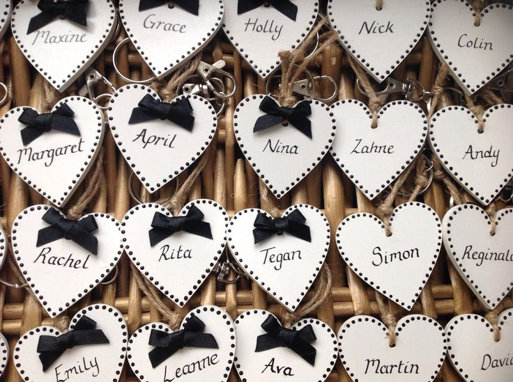 Handmade wooden bespoke place settings/favours by Lilly Dilly's #wedding #table #monochrome #vintage #theme #wooden #handmade #bespoke #placename
