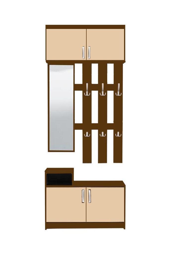 Παπουτσοθήκη με καθρέφτη και 6 θέσεις για κρεμαστά