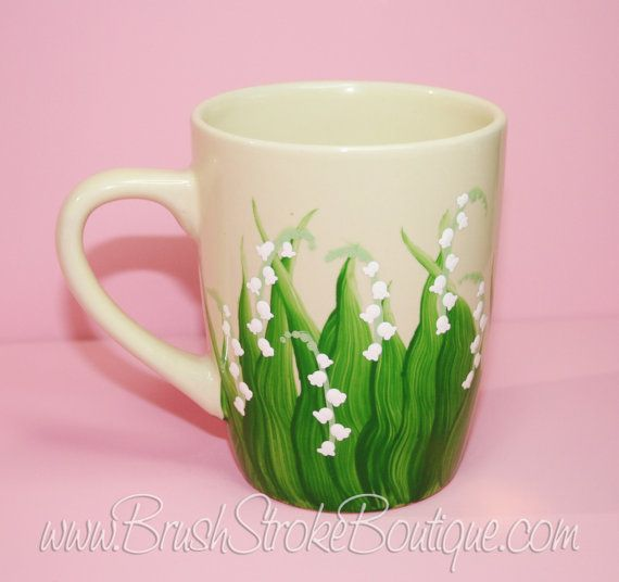 hand painted coffee mug lily of the valley and custom coffee mugs for