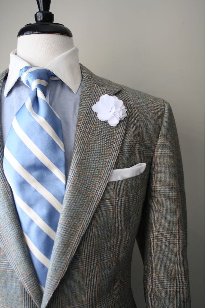 Light grey suit with blue and orange plaid light blue for Blue striped shirt with tie