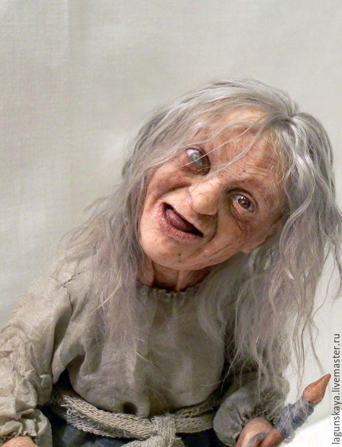 Купить Веретено - старуха, ведьма, веретено, спящая красавица, сказка, авторская кукла, ЛивингДолл