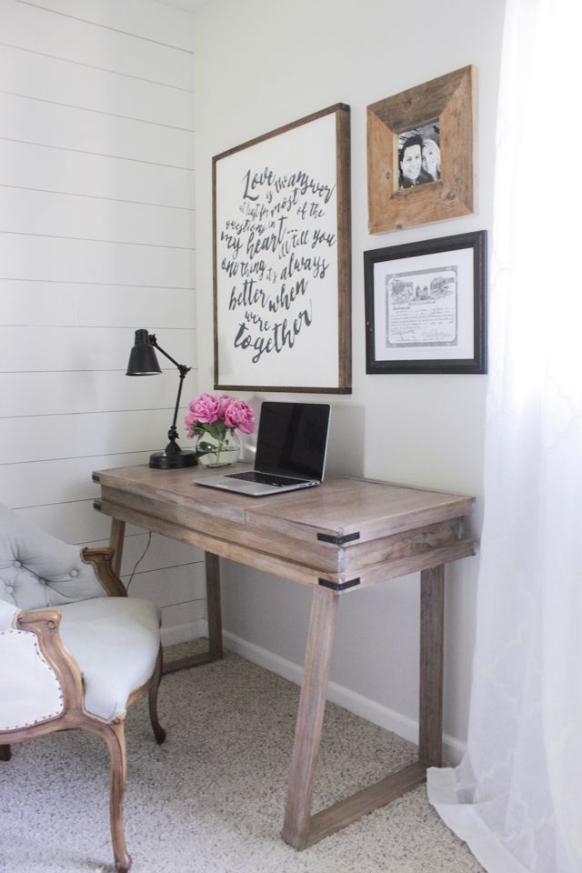 Corner bedroom rustic desk with a white-washed weathered wood finish similar to RH