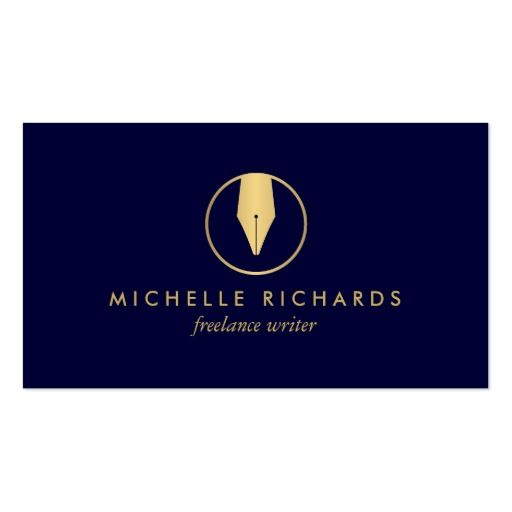 29 best logos images on pinterest writers logos and business cards faux gold pen nib logo on dark navy for writers business card colourmoves