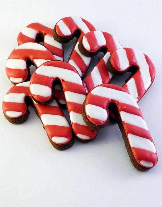Biscuits décorés pour Noël Candy Canes 1 douzaine par katieduran, $14.00