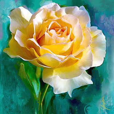 """Rose Turq"" painting by California artist Jackie Jacobson"