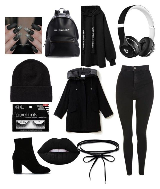 """""""#allblack"""" by jasmimosa on Polyvore featuring Topshop, Lacoste, American Eagle Outfitters, Balenciaga, Lime Crime, Thomas Sabo and Beats by Dr. Dre"""