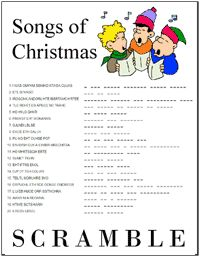 It is a picture of Clean Christmas Song Scramble Free Printable