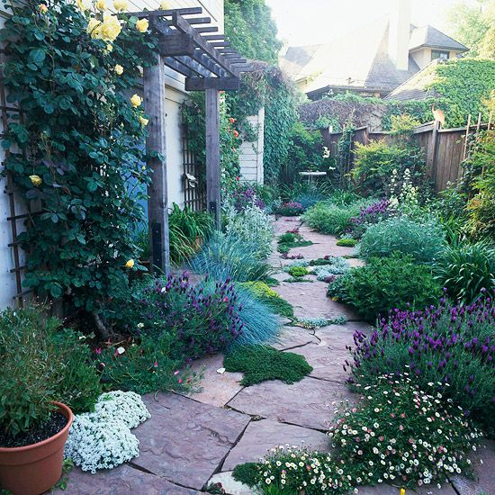 A mixture of plants and hardscape elements adorns a side yard.  This…