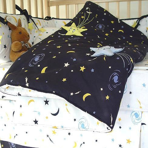 Starry Night Navy White And Yellow Moon And Star 7 Piece