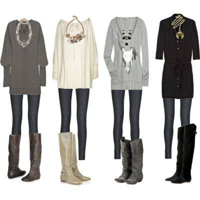 Comfy ~ big sweaters, tights, boots, big necklace.  Great weekend outfit
