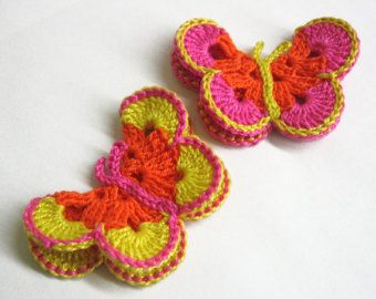 Items similar to Crochet Butterfly Applique on Etsy