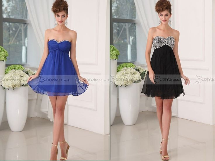 A-Line Strapless Sweetheart Beadings Mini Cocktail Dresses