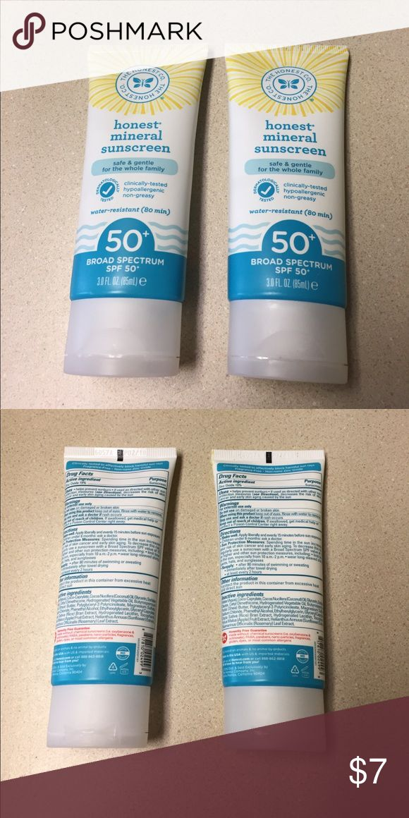 Two Honest Mineral Sunscreens Honest Mineral Sunscreen (unused)  Exp 02/2018. Retails for $14/each The Honest Company Makeup