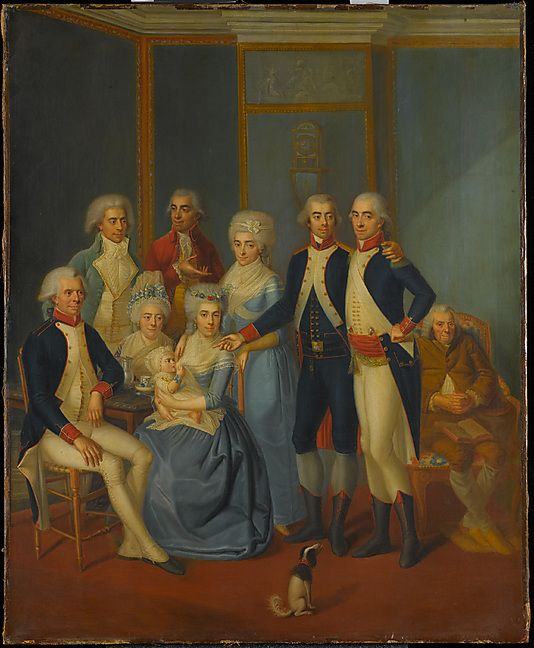 Portrait of a Military Family  early 19th century painter  Artist: possibly Jean-Jacques Hauer (French, 1751–1829) Date: ca. 1789–90 Culture: probably French Medium: Oil on canvas Dimensions: 24 1/8 x 19 3/4 in. (61.3 x 50.2 cm) Classification: Paintings Credit Line: Robert Lehman Collection, 1975 Accession Number: 1975.1.149