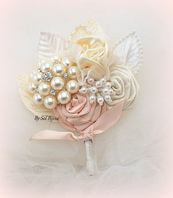 Brooch Boutonniere, Blush, Ivory, Bout, Blush Corsage, Groom, Mother of the Bride, Groomsmen, Pearls, Crystals, Elegant, Gatsby