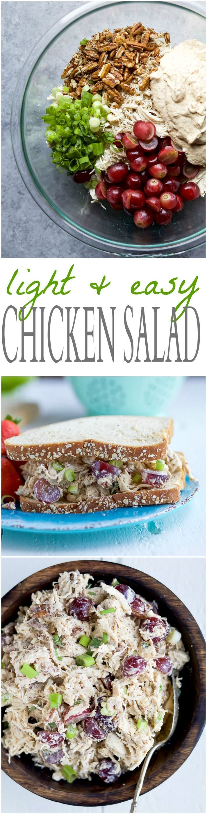 A LIGHT & EASY CHICKEN SALAD RECIPE that's low carb, high protein, and gluten free! This Chicken Salad is made with greek yogurt, mustard, grapes, and fresh lemon juice. Perfect for a quick lunch! | joyfulhealthyeats.com