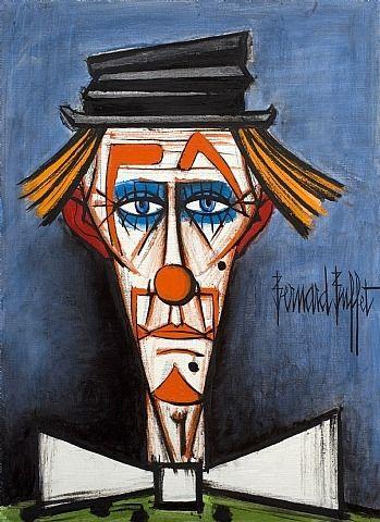 artnet Galleries: Clown au Chapeau Claque by Bernard Buffet from Willow Gallery