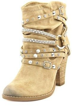 Not Rated Swazy Women Round Toe Canvas Nude Ankle Boot.