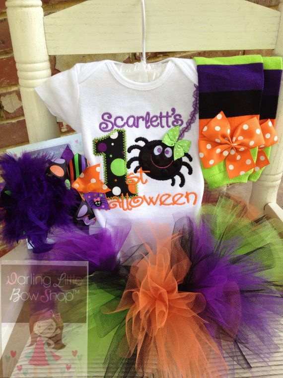 My First Halloween Tutu outfit for baby girls -- bodysuit, tutu, leg warmers and Over The Top bow in purple, black, green and orange