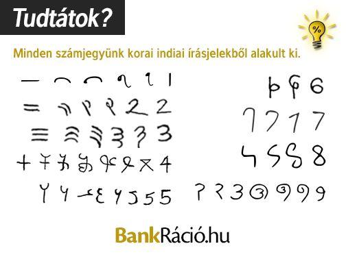 Minden számjegyünk korai indiai írásjelekből alakult ki.