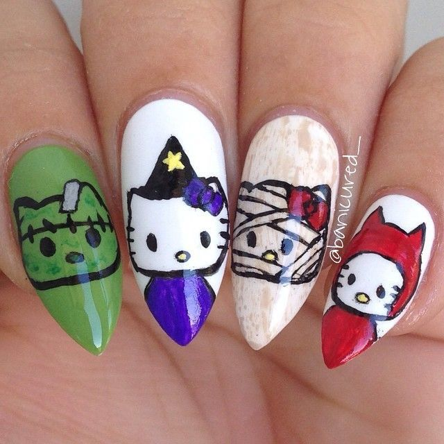 77 best cute girly nails images on pinterest nail art nail hello kitty halloween nails prinsesfo Gallery