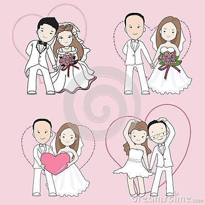 Bride and groom holding hand with happy face.wedding cartoon vector