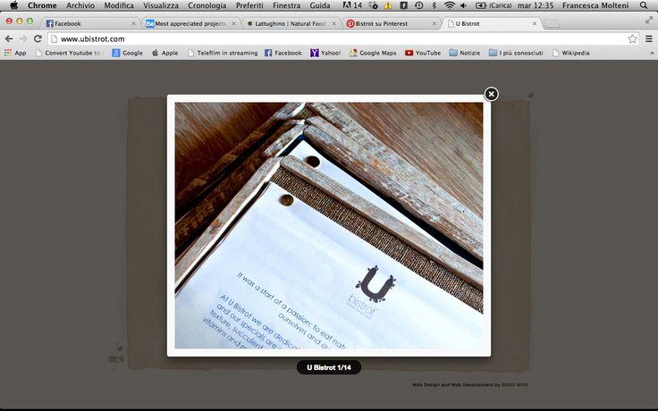 U Bistrot. Proposta per il menù: dipende quante proposte ha. Perché se fosse un menù da 1/2 pagine potrebbe andare bene. Cmq contatto behance: https://www.behance.net/gallery/2191943/U-Bistrot-Branding Sito web: http://www.ubistrot.com/