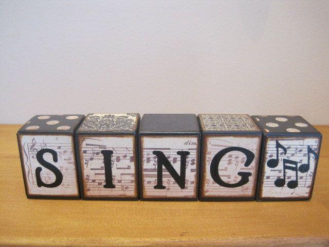 Custom Wood Letter Blocks Sing Music Home Decor Vintage Sheet Music Music Decor Music Note Black And White Vintage Sign Room Decor Play