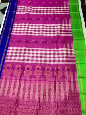 Pink & Blue Exclusive Handwoven Pure Silk Saree Silk Sarees on Shimply.com