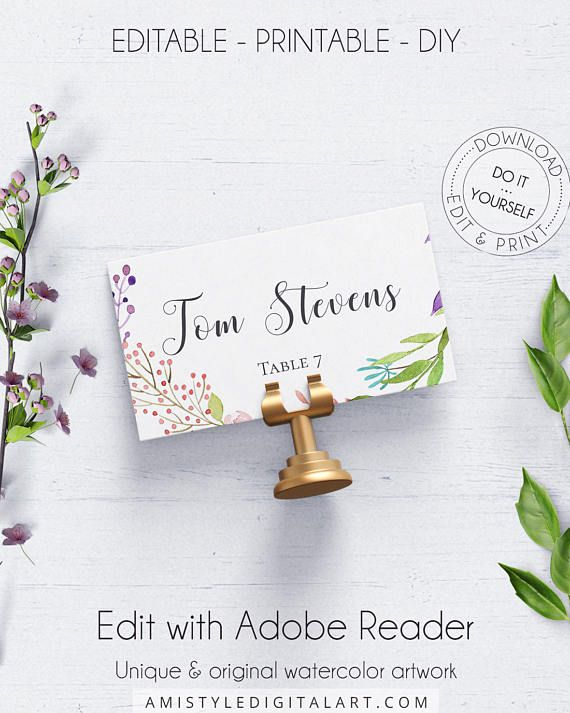 Greenery Place Card Template With Unique And Delicate Watercolor Greenery Desig Free Printable Invitations Free Printable Invitations Templates Card Templates