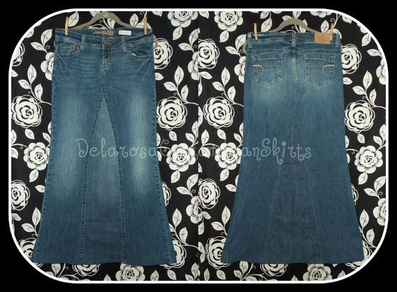 Custom to Your Size Long Jean Skirt size 0 2 4 by CustomJeanSkirts
