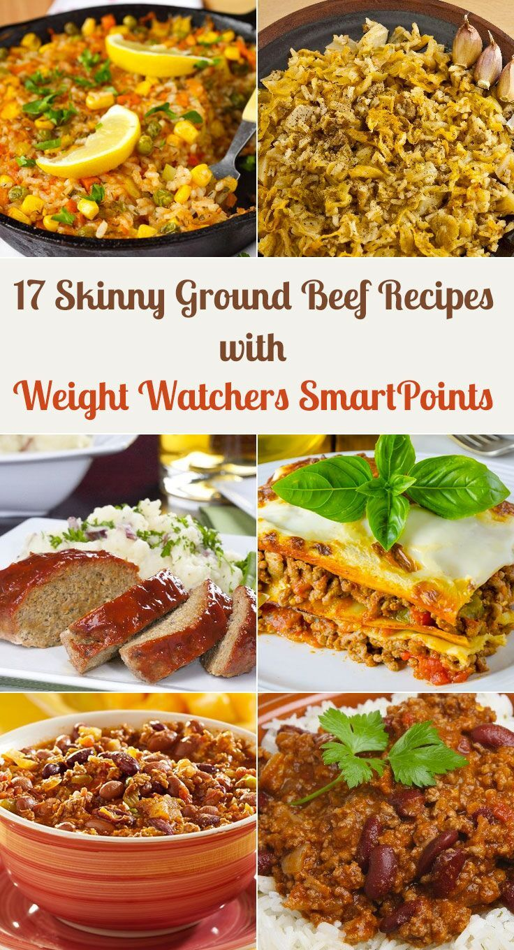 17 Skinny Ground Beef Dinner Recipes with Weight Watchers SmartPoints including Taco Rice Skillet, Barbecue Meatloaf, Cabbage Casserole, Lasagna, Pizza Casserole, Chili, Hamburgers, Mexican Casserole, Ziti, Baked Spaghetti and more!