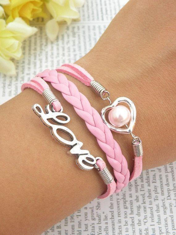USA+Seller+Love+bracelet+heart++braclet++pink+by+BraceletStreetUSA,+$8.95