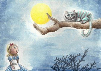 """""""Alice secondo me: Lo stregatto"""" pastelli e acquerelli su carta di Evita Cantoni"""