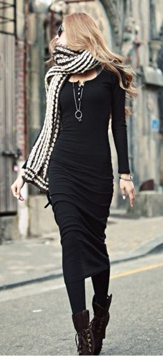 #winter #fashion / black knit dress + scarf