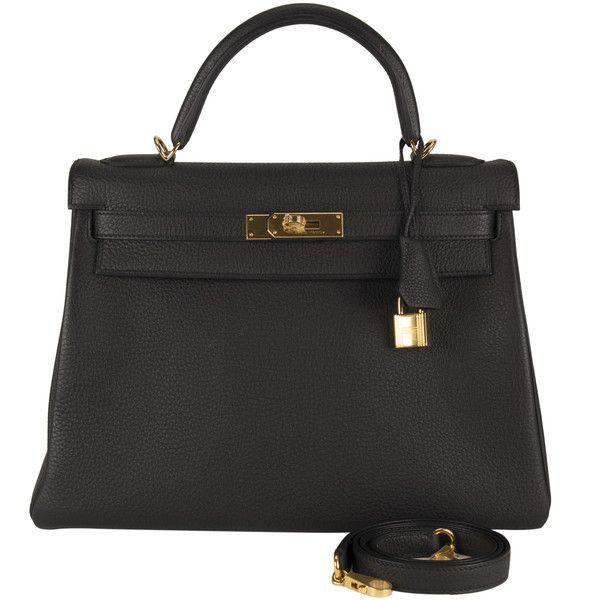 Pre-Owned Hermes Handbag Kelly II 32 Retourne Togo Black Gold ...