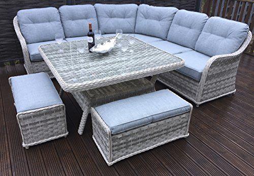 bd0e58de926e Homeflair Rattan Garden Furniture Constance Grey Corner Sofa Dining Table  Stool