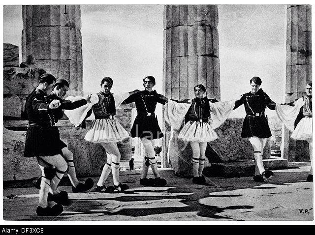 Evzones Dancing at the Acropolis, Athens, Greece