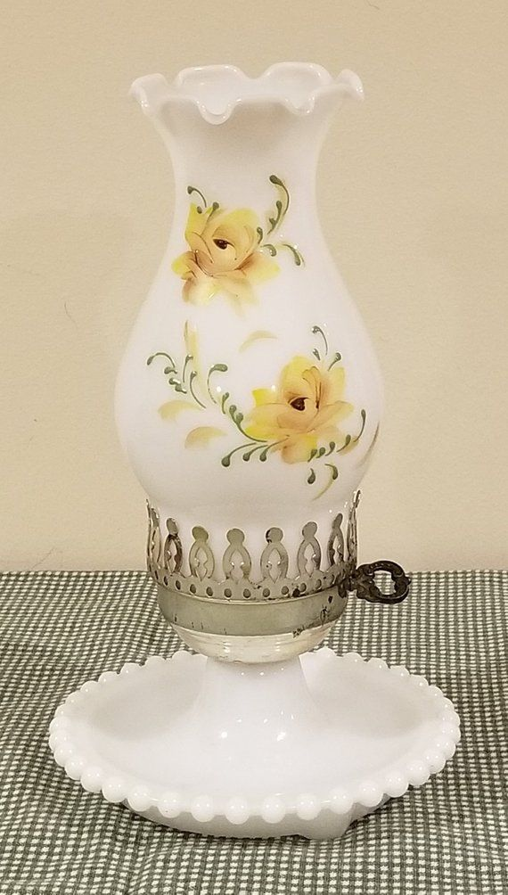 Vintage White Milk Glass Hand Painted Yellow Flowers Hobnail Base