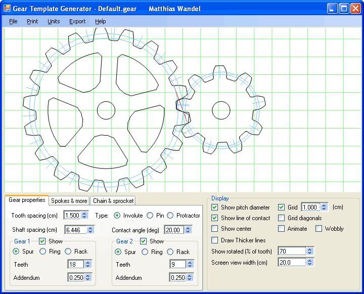 Gear template generator program. Cogs. Gears. Mechanics. Machines.