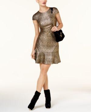 Michael Michael Kors Petite Metallic Flounce-Hem Dress - Gold P/XS